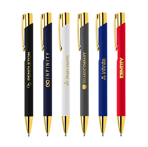 Branded Gold Crosby Soft Touch Pen